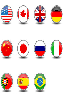 Circular flags of different nations