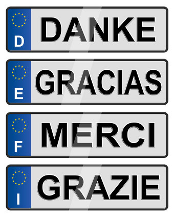 'Thankyou' in different languages shown in style of car numberplate