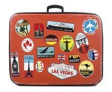 Suitcase with country travel stickers